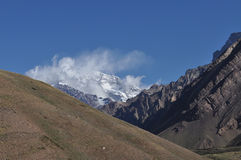 Aconcagua in the clouds Royalty Free Stock Photos