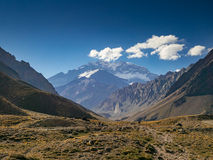 Aconcagua in the Evenging. A trekking trip to the Plaza Francia, South Face of Aconcagua royalty free stock photo