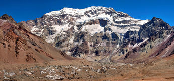 Aconcagua, the highest mountain in South America. Mountain panorama of Aconcagua, the highest mountain in South America, as seen from South Side, Mendoza royalty free stock photo