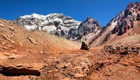 Aconcagua, il più alta montagna nel Sudamerica Immagine Stock