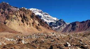 Aconcagua, il più alta montagna nel Sudamerica Fotografia Stock Libera da Diritti