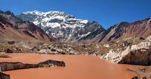 Aconcagua mountain panorama. Aconcagua, the highest mountain in South America, as seen in Mendoza, Argentina royalty free stock photos