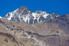 Aconcagua mountain peak with clear blue sky. Argentina. Details of the Aconcagua mountain peak with clear blue sky at the Aconcagua National Park. Landmark near Royalty Free Stock Photography