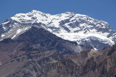 Aconcagua mountain peak with clear blue sky. Argentina Stock Image