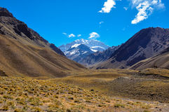 Aconcagua National Park's landscapes in between Chile and Argent Royalty Free Stock Photo
