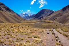 Aconcagua National Park's landscapes in between Chile and Argent Royalty Free Stock Images