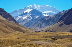 Aconcagua National Park's landscapes in between Chile and Argent Royalty Free Stock Image