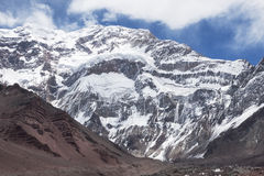 Aconcagua south face. Landscape by Horcones Glaciar. Aconcagua National Park. Argentina Royalty Free Stock Image