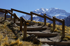 Aconcagua and staircase Royalty Free Stock Image