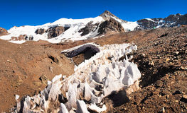 Aconcagua summit in Argentina, South America. Ice formations at Aconcagua summit in Mendoza, Argentina, South America stock photography