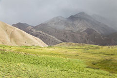 Aconcagua valley covered by clouds. Argentinian Andes Royalty Free Stock Photography