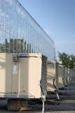 Acondicionadores de aire del invernadero en una fila Fotografía de archivo libre de regalías