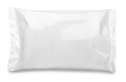 Acondicionamiento de los alimentos en blanco de la bolsa plástica en blanco Imagen de archivo