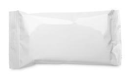 Acondicionamiento de los alimentos en blanco de la bolsa plástica en blanco Imagen de archivo libre de regalías