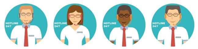 Aconseja iconos de grupo de la atención al cliente del cliente Hines en línea del africano de los consultores ilustración del vector