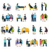 Aconsejando los iconos planos del grupo de ayuda fijados Foto de archivo libre de regalías
