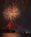 Acontecimiento de los fuegos artificiales en Putrajaya, Malasia Foto de archivo libre de regalías