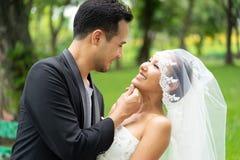 Acopla o casamento, o noivo e a noiva sentindo felizes junto com o amor do forever foto de stock