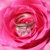 Acoplamento e alianças de casamento na rosa do rosa Fotografia de Stock Royalty Free