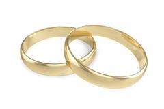 Acoplamento ou aliança de casamento do ouro dois isolado no fundo branco rendição 3d Fotos de Stock