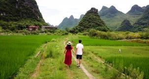 Acople a apreciação do cenário das vilas de Yangshuo video estoque