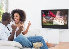 Acople cheering ao olhar o fósforo do rugby na televisão fotos de stock