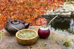 Acople el té en una calabaza en una tabla de piedra en el jardín Foto de archivo libre de regalías