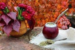 Acople el té en una calabaza en una tabla de piedra en el jardín Fotografía de archivo libre de regalías