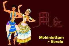 Acople a execução da dança clássica de Mohiniattam de Kerala, Índia Foto de Stock Royalty Free