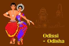 Acople a execução da dança clássica de Odissi de Odisha, Índia Imagem de Stock Royalty Free