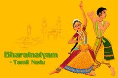 Acople a execução da dança clássica do Tamil Nadu, Índia de Bharatanatyam Fotos de Stock Royalty Free