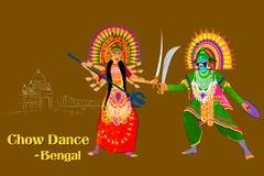Acople a execução da dança popular de Chhau de Assam, Índia Fotografia de Stock Royalty Free