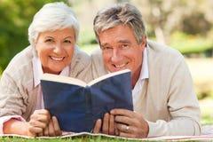 Acople a leitura de um livro Foto de Stock Royalty Free