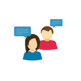 Acople o ícone de fala do vetor, conversa de duas pessoas com discursos da bolha, mulher e equipe a discussão polida, a menina e  Foto de Stock Royalty Free
