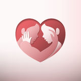Acople o acariciamento na arte dada forma coração do papel do quadro Fotografia de Stock Royalty Free