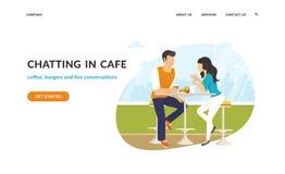 Acople o assento no café, flertar e conversar junto ilustração do vetor