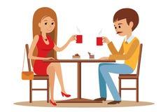 Acople o assento no café, flertar e falar sobre algo ilustração stock