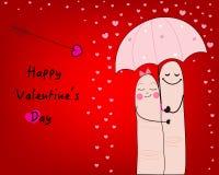 Acople o cartão engraçado do dia de são valentim e o vetor feliz do cartão do dia de Valentim Imagem de Stock