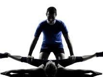 Acople o homem da mulher que exercita o exercício Fotografia de Stock