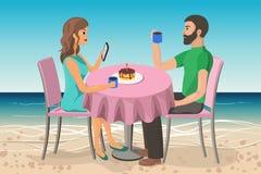 Acople o homem e a mulher em uma data na praia ilustração stock