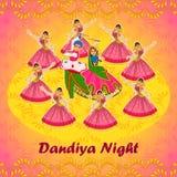 Acople o jogo de Garba no festival de Navratri Dussehra da noite de Dandiya Foto de Stock Royalty Free
