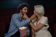 Acople a pipoca de alimentação entre si ao sentar-se no teatro imagem de stock royalty free