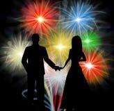 Acople a silhueta em Front Of Fireworks Romantic Celebrations ilustração royalty free
