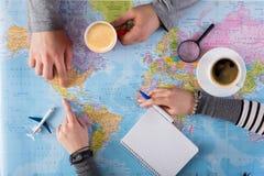 Acople a viagem do planeamento a México, ponto no mapa Fotos de Stock Royalty Free