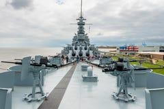 Acorazado de USS Alabama en Memorial Park en Alabama móvil los E.E.U.U. imagenes de archivo