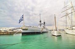 Acorazado histórico Faliro Grecia de George/de Jorge Averof Imágenes de archivo libres de regalías