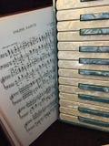 Acordeón nacarado azul y blanco con la música 10 Fotografía de archivo libre de regalías