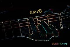 Acorde de la guitarra en un fondo oscuro ilustración del vector