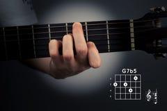 Acorde de la guitarra en un fondo oscuro G séptimos completamente cinco dominantes Digitación de la etiqueta G7b5 imagen de archivo
