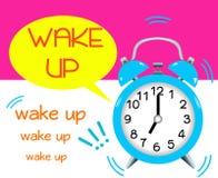 Acorde o alarme apaga-se soa o despertador azul ilustração stock
